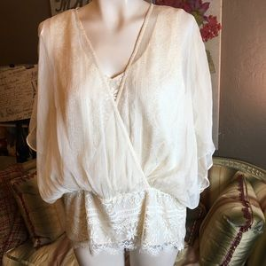 Pleione Ivory Lace Sheer Blouse Large NEW